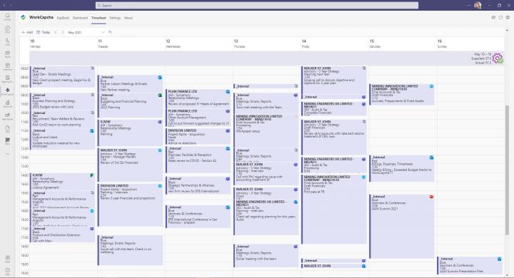 Work capha timesheet screenshot
